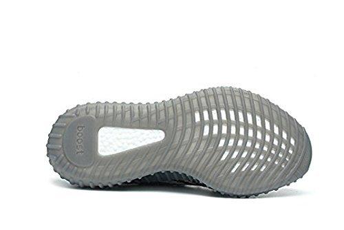 Hommes, Femmes Augmentent 350 V2 Chaussures De Sport Dentelle Tricot Chaussures Unisexe Respirant Espadrilles Gris Zèbre