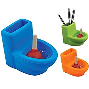 Silicone Toilet with Plunger Pen Paper Clip Holder, Desk Organizer, Fun Office Decor (Blue)