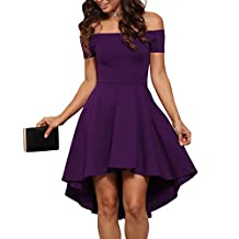 Eiffel Women's Off Shoulder High Low Hem A-line Evening Party Skater Dress