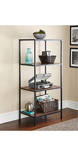 Review Warm Ash Powder Coated Metal 4 Shelf Media Tower By Mainstay by Mainstay