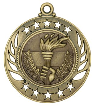 """2-1/4"""" Gold - Silver - or Bronze Victory Torch Medals with Red-White-Blue Neck Ribbon. (Any Qty Ships for a FLAT Rate of $5.49 via Priority Mail)"""