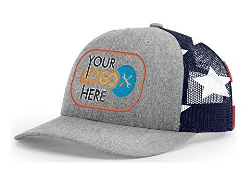 - Custom Richardson 112 Hat with Your Logo Embroidered Trucker Mesh Snapback Cap (Adjustable Snapback 112PM Split, Split Heather Grey/Stars & Stripes)