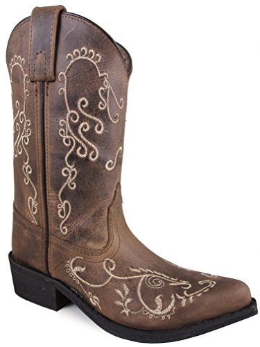 Smoky Mountain Children's Jolene Pull On Embroidered Snip Toe Brown Waxed Distress Boots 2.5M ()