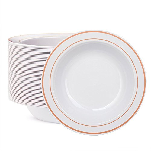 WDF 60pcs Disposable Plastic Bowls-12 oz Soup Bowls - Rose Gold Trim Real China Design - Premium Heavy Duty Plastic Plates for Wedding/Parties (Rose Gold Bowls)