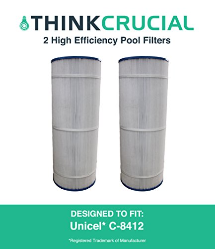 2 Replacements for Unicel C-8412 Pool Filter, Fits 120 Square Foot Hayward CX1200RE, 23-5/6'' x 8-5/16'' in., by Think Crucial by Think Crucial