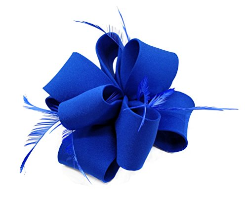 Ahugehome Fascinators Hair Clip Headband Flower Feather Cocktail Weeding Tea Party Hat (HP Royal Blue) by Ahugehome