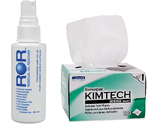 ROR Lens Cleaner 2 oz Bottle & Kimtech Science Wipes (Box of 280) by ROR