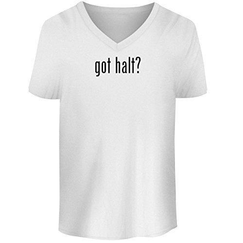 (BH Cool Designs got halt? - Men's V Neck Graphic Tee, White, X-Large)