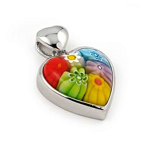 Sterling Silver Multicolor Murano Millefiori Glass Pendant Heart (Made in (Heart Cut Murano Glass)