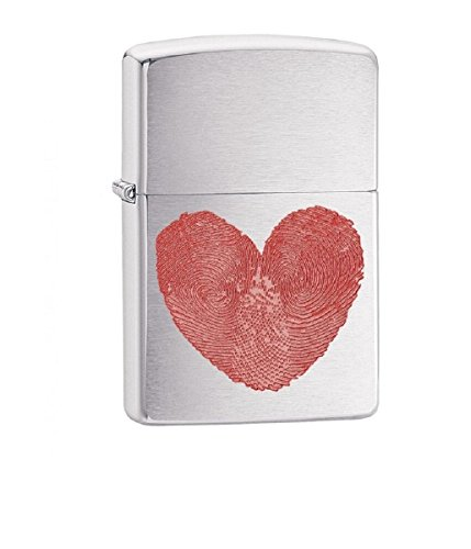 Heart Thumbprints Fingerprints Zippo Outdoor Indoor Windproof Lighter Free Custom Personalized Engraved Message Permanent Lifetime Engraving on Backside