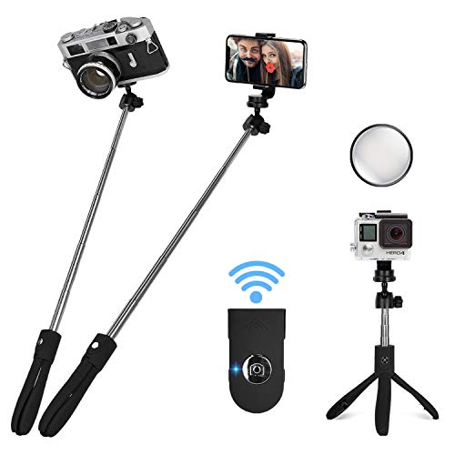 Alybrol Selfie Stick,Professional Bluetooth Selfie Stick Tripod with Back View Mirror and Remote for iPhone x/xs/xr/max/8/8plus/7/7p Note7/ 8/9 Galaxy S7/8/9 Pixel Android and Gopro Hero 7/6/5/4 +