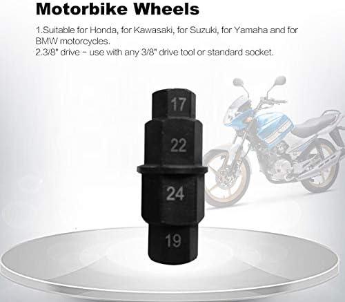 バイクホイールスチールバイクフロントアクスルソケットドライバースパナスピンドルスリーブ自動16進キー17mm 19mm 22mm 24mm-ブラック