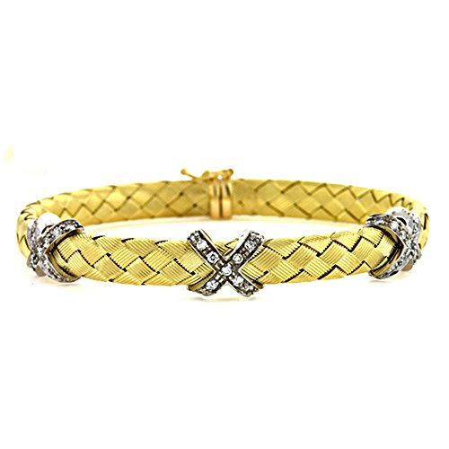 (0.78 Ct Diamonds 18k Yellow Gold Basket-Weave Braided Flexible Textured Finish X Bangle Bracelet)