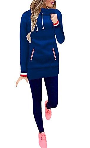 Felpe Strisce Slim E Collo Felpa Con Casual Inverno Coulisse Autunno A Sportiva Cappuccio Alto Colore Elegante Blu Casual Pullover Sweatshirt Lunga Caldo Manica Senza Tasche Donna Puro E Moda wHrxHqZz01