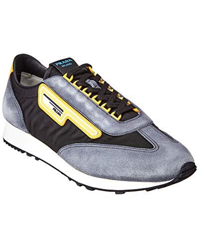 Prada Mln 70 Suede-Trim Sneaker, 9.5 UK, Grey (Women Prada Sneakers)
