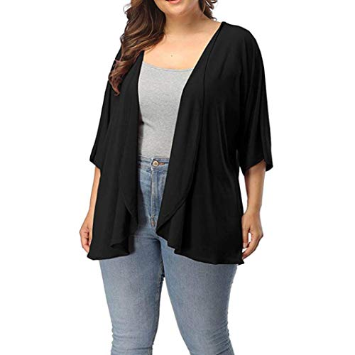 TOPUNDER Plus Size Cardigan for Women Summer Casual Open Front Half ()