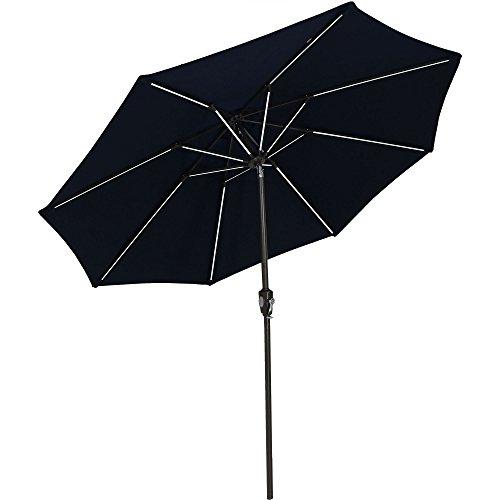 Sunnydaze Solar Sunbrella Patio Umbrella w/Push-Button Tilt and Crank, 9 Foot Market Umbrella with Solar LED Light Bars and Rust Resistant Aluminum, Sunbrella Navy (Large Umbrella Sunbrella)