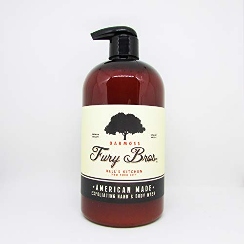 Fury Bros. Luxury Black Series Exfoliating Hand & Body Wash for Men | Made in the USA with All Natural Ingredients | Clean, Fresh Scent | Oakmoss - A Summer Evening, Fragrant Hikes, 16 ounce