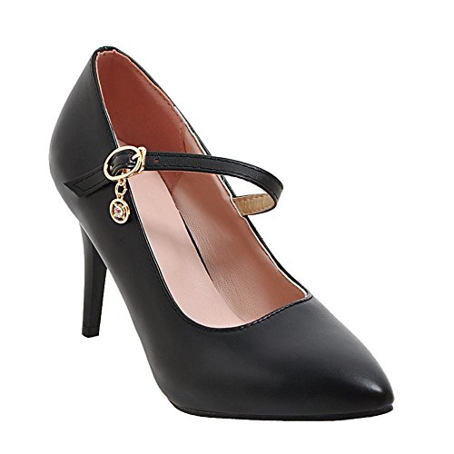 Damen süß Slingback chunky heels Sandalen (35, Schwarz) Mee Shoes