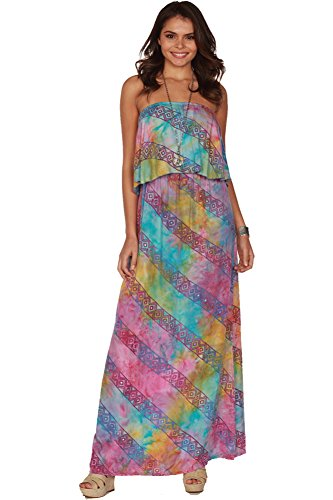 Santiki Charli Strapless Batik Print Maxi Dress - Colorful Tribal - Small