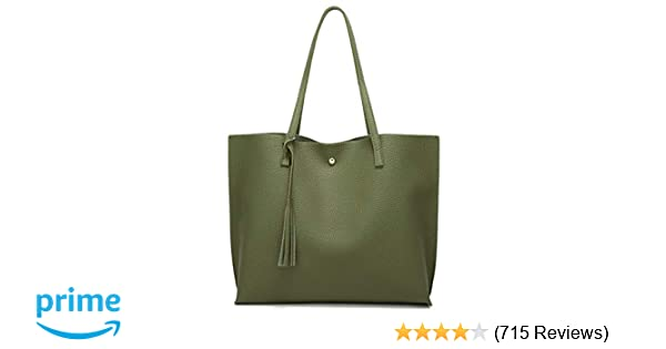 f0370ff68c Amazon.com  Women s Soft Leather Tote Shoulder Bag from Dreubea
