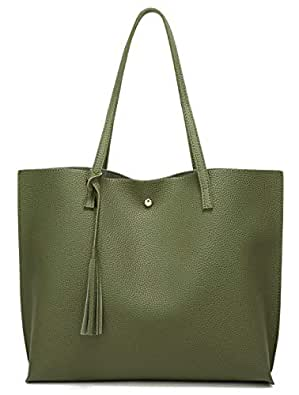 Women's Soft Leather Tote Shoulder Bag from Dreubea, Big Capacity Tassel Handbag Army Green