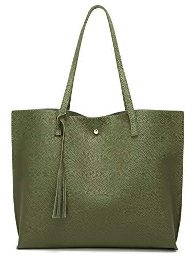 Women's Soft Leather Tote Shoulder Bag from Dreubea, Big Capacity Tassel Handbag Army Green ()