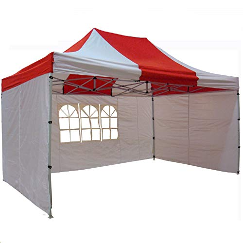 DELTA Canopies 10'x15' Ez Pop Up Canopy Party Tent Instant Gazebos 100% Waterproof Top with 4 Removable Sides Red White - E Model