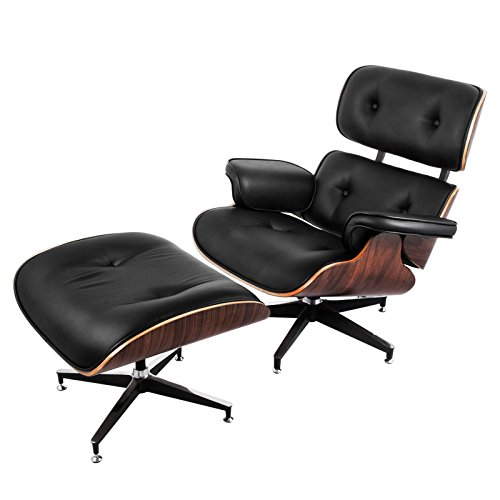 Mophorn Lounge Chair with Ottoman Mid Century Modern Replica Style Recliner Chair High Grade Vintage PU Leather Recliner Armchair with Foot Stool Ottoman Living Room Furniture Set (Black)