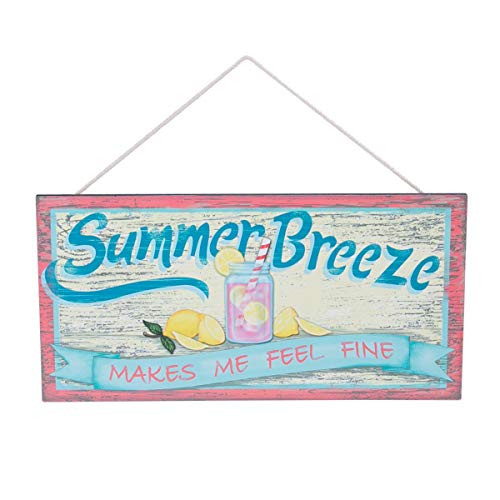 Beachcombers Summer Breeze Makes Me Feel Fine Pink Lemonade Wood Plaque 14 Inch Wall Decor ()