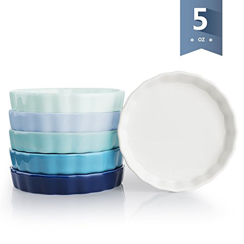Sweese 5110 Porcelain Ramekins Round Shape - 5 Ounce for Creme Brulee - Set of 6, 4.8 x 0.8 Inch, Cold Assorted Colors