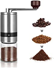 Manual Coffee Grinder - Hand Coffee Mill with Ceramic Burrs 6 Adjustable Settings - Portable Hand Crank (Straight)