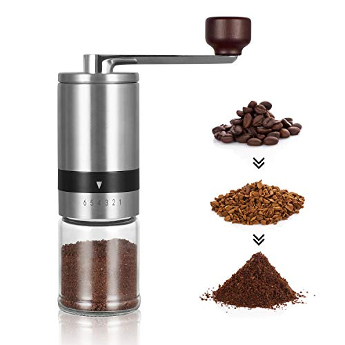 Manual Coffee Grinder – Hand Coffee Mill with Ceramic Burrs 6 Adjustable Settings – Portable Hand Crank (Straight)