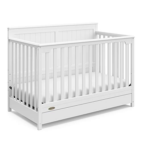 (Graco Hadley 4-in-1 Convertible Crib with Drawer, White, Easily Converts to Toddler Bed Day Bed or Full Bed, Three Position Adjustable Height Mattress, Some Assembly Required (Mattress Not Included))