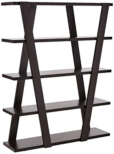- Bookcase with Inverted Supports and Open Shelves Cappuccino