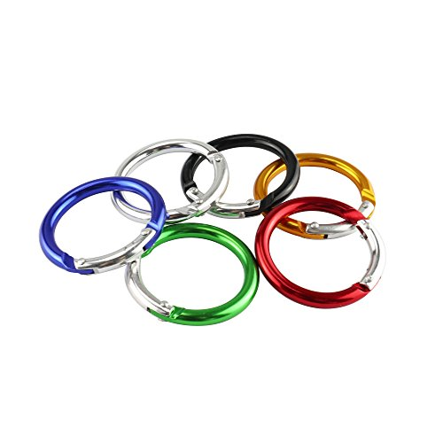 2 Inch Hiking Camping Spring Clip Aluminum Round Carabiner Hook (2 Inch, 6 Pack)