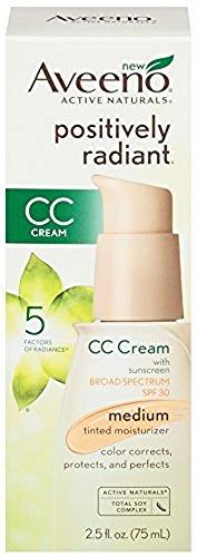 Aveeno Positively Radiant CC Cream SPF 30, Medium Tinted Moisturizer, 2.5 Ounce (6 Pack) by Aveeno