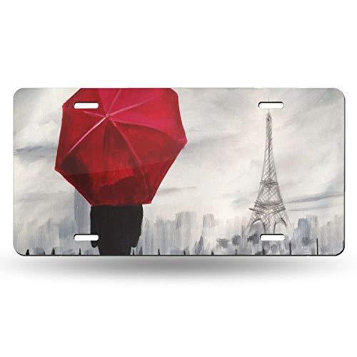 Leda Metal Desk - DERTYV License Plate Frame Custom Art Rave-Raindrops in Paris Metal Signs Car Cover Set Designer for Car Decoration