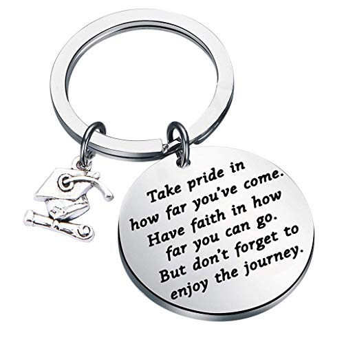 Uplord Graduation Keychain Pendant for Male and Female Students in Graduation Season,Metal Keychain Rings Split Keyrings Flat O Ring for Home Car Office Keys ()