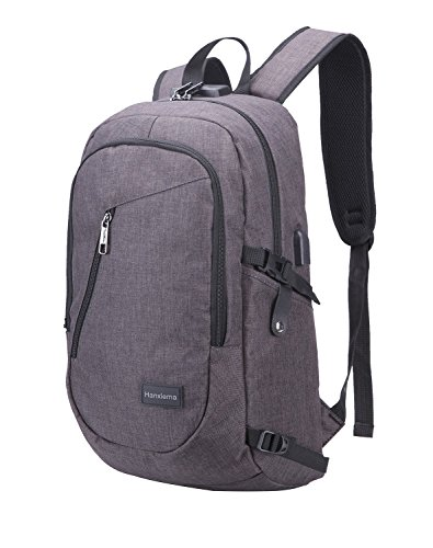 Hanxiema Travel Laptop Backpack,Business Laptop Backpack with USB Charging Port ,Water Resistant College School Computer Bag for Women and Men Fits 14 Inch Oxford cloth - Dark Grey (Hxm-03-2)