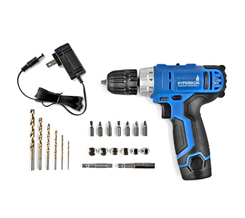 Hyperikon Electric Power Drill Lithium 12V with Driver Set and Project Kit, 3/8 Keyless Chuck Small Cordless Drill