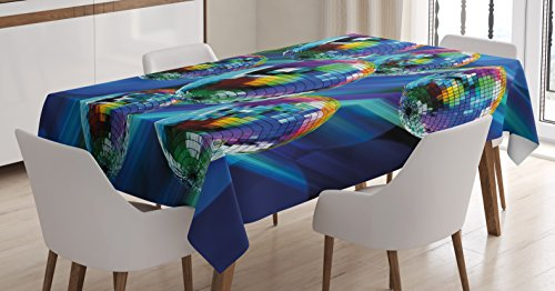 70s Party Decorations Tablecloth by Ambesonne, Colorful Funky Vibrant Disco Balls Abstract Night Club Dancing Theme, Dining Room Kitchen Rectangular Table Cover, 60 W X 90 L Inches, (70s Party Clothes Ideas)
