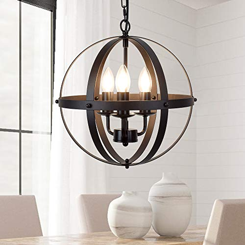 DLLT Vintage Pendant Hanging Light, Flush Mount Ceiling Chandelier Lamp with Metal Spherical Shade for Kitchen, Dining Room, Living Room, Hallway, Bedroom, Entryway 3-Light, E12 Base-Matte Black