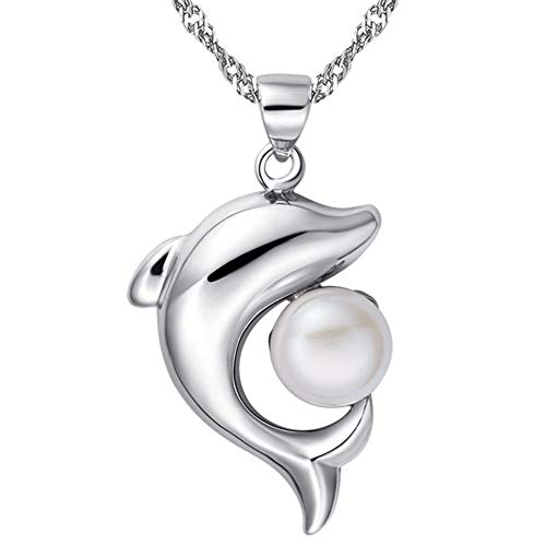 (QMM necklace Pendant Sweet Dolphin Shaped Pendant Choker Silver Chain Simulated Pearl Choker Necklace Jewelry)