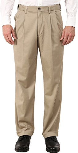 Dockers Men's Relaxed Fit Comfort Khaki Cuffed Pants-Pleated D4, British Khaki (Stretch), 32W x 30L
