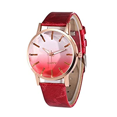 WM & MW Popular Women Watches,Gradual Color Scale Convex Creative Quartz Watch Leather Band Casual Wrist Watches
