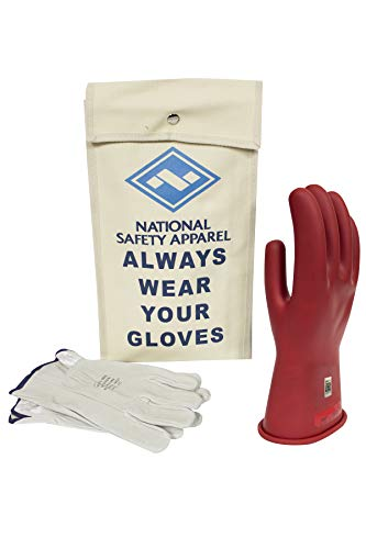 National Safety Apparel Class 0 Red Rubber Voltage Insulating Glove Kit with Leather Protectors, Max. Use Voltage 1,000V AC/ 1,500V DC (KITGC010R) ()