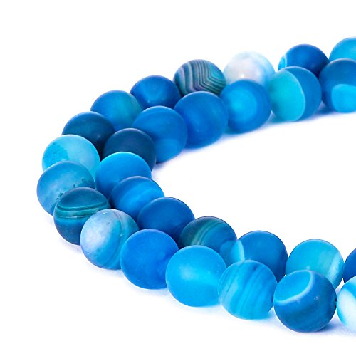 JARTC Natural Stone Beads Matte Blue Stripe Agate Round Loose Beads for Jewelry Making DIY Bracelet Necklace (6mm)
