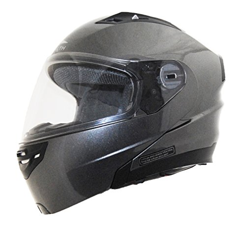 Stealth Vertice Full Face Modular Helmet with Quick Release Chin Strap (Gray Metallic, XX-Small)