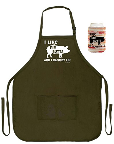 ThisWear I Like Pig Butts I Cannot Lie Funny Apron Can Coolie Bundle Bacon BBQ Barbecue Two Pocket Apron Military Olive Green